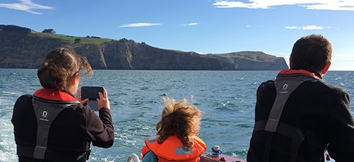 Family on boat tour taking photos of Akaroa scenery